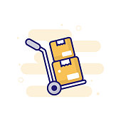 istock Hand Truck vector filled outline icon style illustration. EPS 10 File 1318523532