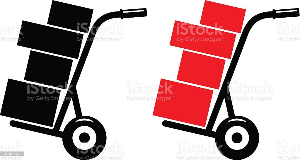 royalty free hand truck clip art vector images illustrations istock rh istockphoto com  moving truck clipart black and white