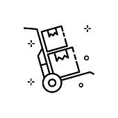 istock Hand Truck Vector Outline icon. EPS 10 file 1317609680