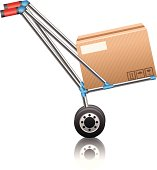 istock Hand truck with boxes 166008354