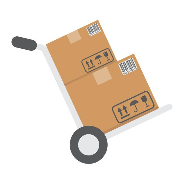 hand truck with cardboard boxes flat icon, logistic and delivery, hand dolly sign vector graphics, a colorful solid pattern on a white background, eps 10. - wózek transportowy stock illustrations