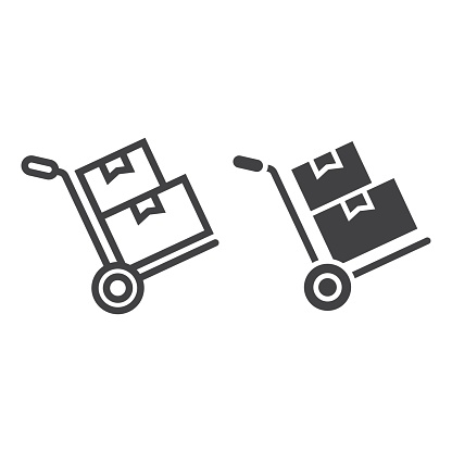 Hand truck with cardboard boxes line amd glyph icon, logistic and delivery, hand dolly sign vector graphics, a linear pattern on a white background, eps 10.