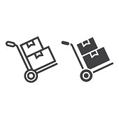 istock Hand truck with cardboard boxes line amd glyph icon, logistic and delivery, hand dolly sign vector graphics, a linear pattern on a white background, eps 10. 920310172