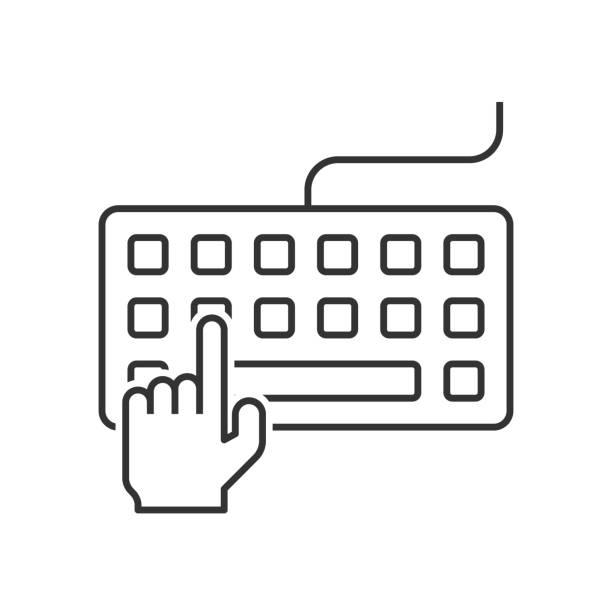 鍵盤上的手寫鍵入向量藝術插圖
