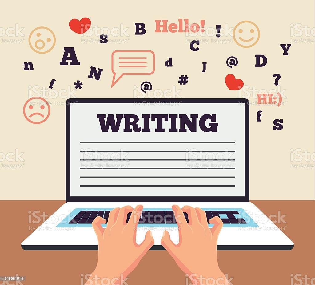 Hand typing on laptop. Social network. Vector flat cartoon illustration vector art illustration