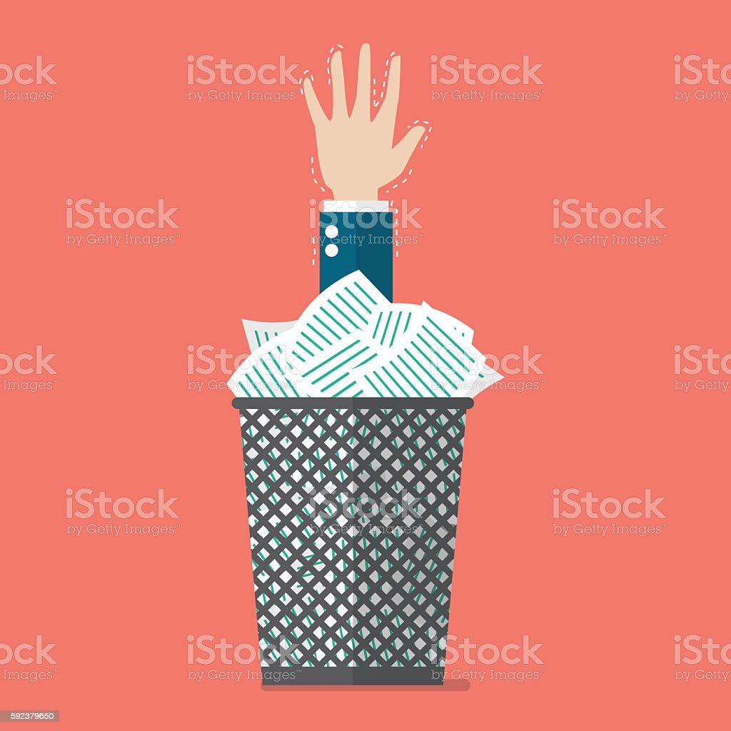 Hand under a lot of documents in the trash can vector art illustration