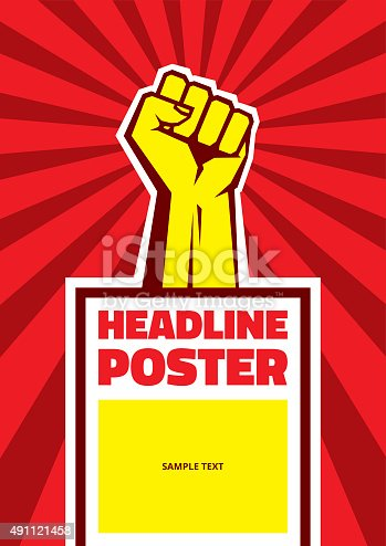 Hand Up Proletarian Revolution - Vector Illustration Concept in Soviet Union Agitation Style. Fist of revolution. Vertical poster template.