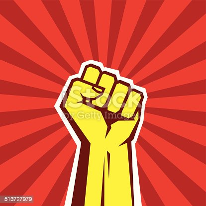 Hand up proletarian revolution - vector illustration concept in Soviet Union agitation style. Fist of revolution.