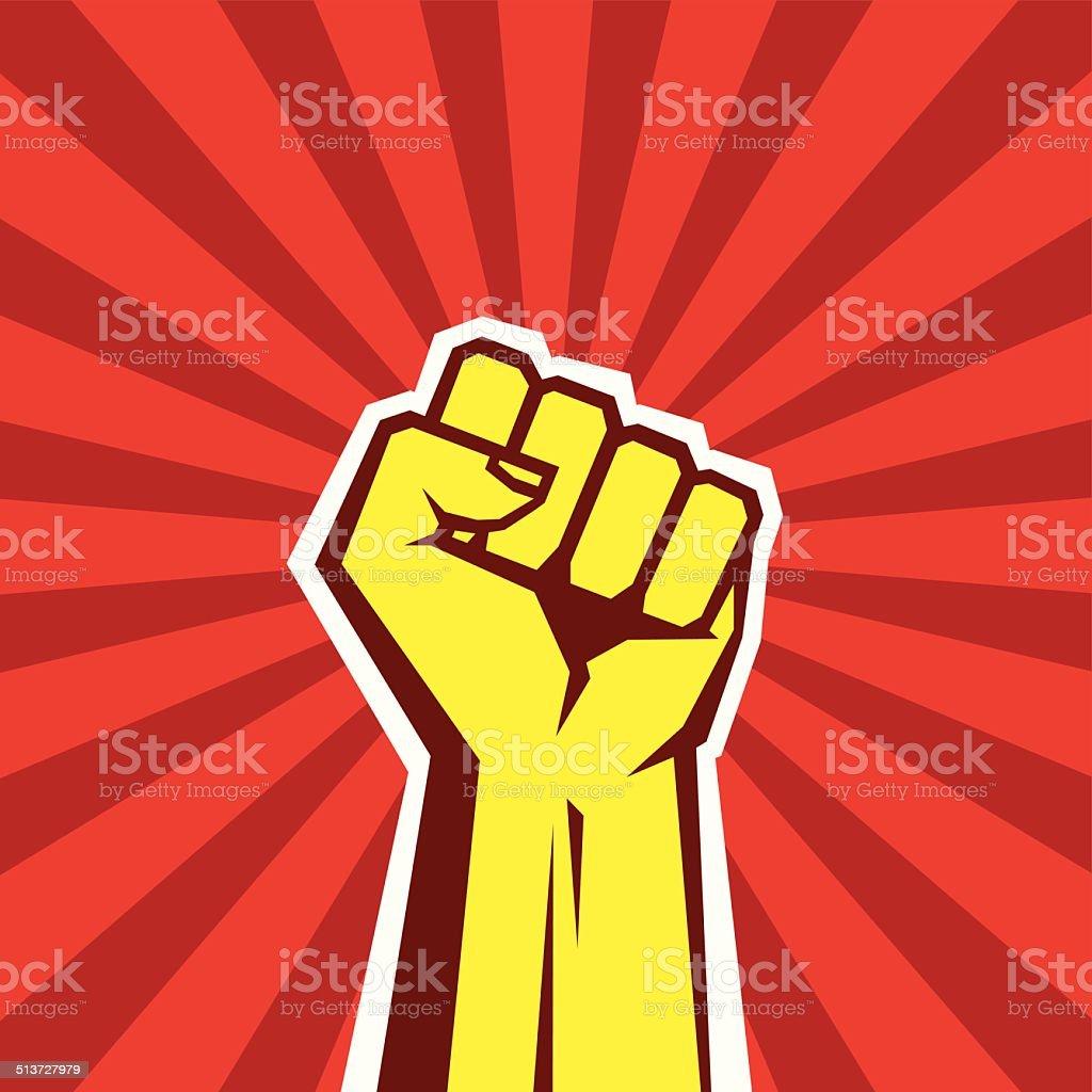 Mão Proletarian Revolution-ilustração em vetor de conceito - ilustração de arte em vetor