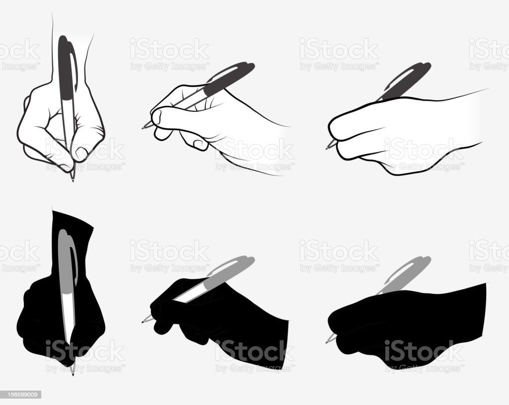 Hand Using Pen Collection vector art illustration