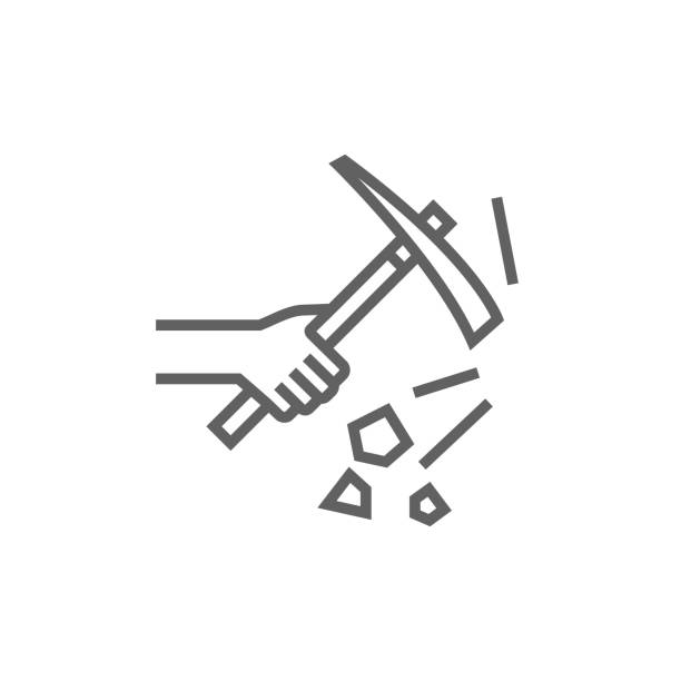 Hand using pickax line icon Hand using pickax thick line icon with pointed corners and edges for web, mobile and infographics. Vector isolated icon. mattock stock illustrations