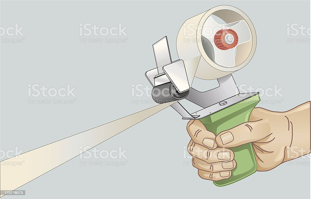 Hand Using Tape Dispenser, Pulling Out Long Piece of Tape vector art illustration