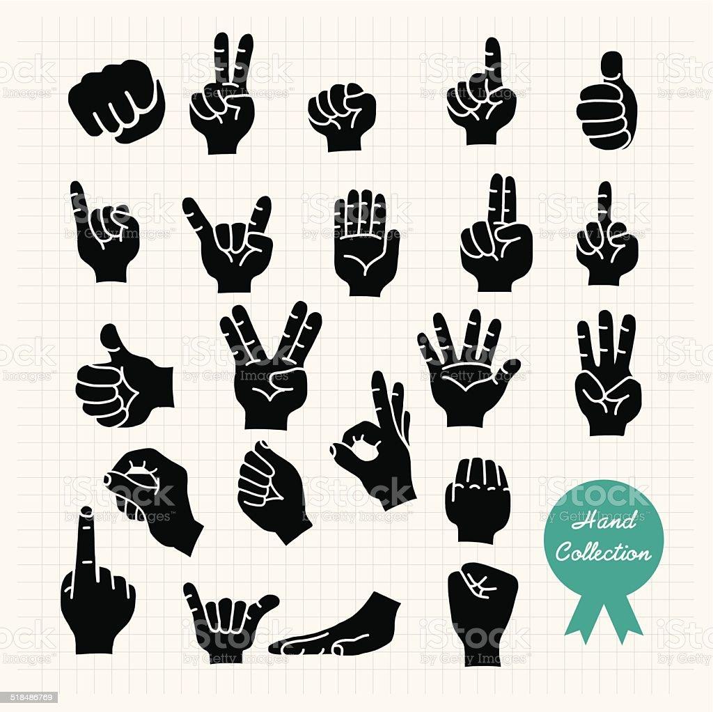 Hand Vector SIlhouette vector art illustration
