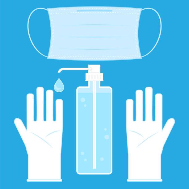 Hand Wash Gel Icon. Medical Sanitizer Symbol. Liquid Soap with Pumping from Bottle for Desinfection. Plastic Dispenser. Cleanser for Hygiene. Mask and Cloves. vector art illustration