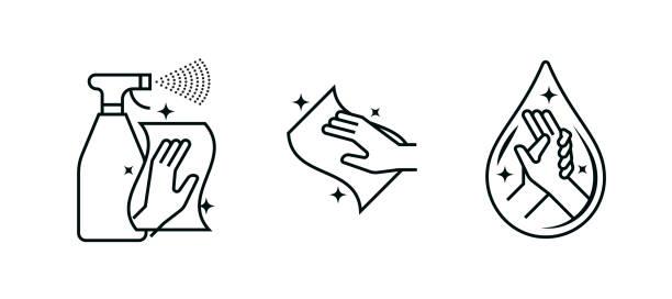 ilustrações, clipart, desenhos animados e ícones de desinfetante de lavagem manual, lenços antibacterianos e ícones vetores de spray de desinfecção. gel antisséptico coronavírus e álcool, sinais de lavagem das mãos antibacterianos - higiene