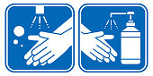 Hand washing and hand sanitizer Hygiene vector icon set