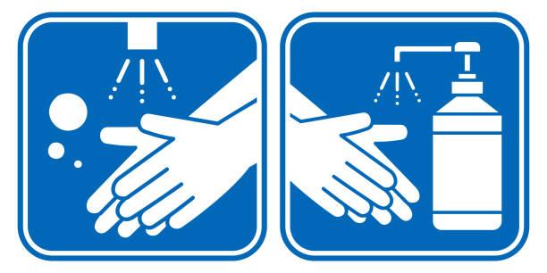 ilustrações, clipart, desenhos animados e ícones de conjunto de ícones do vetor de higiene de higienização das mãos e desinfetante das mãos - higiene