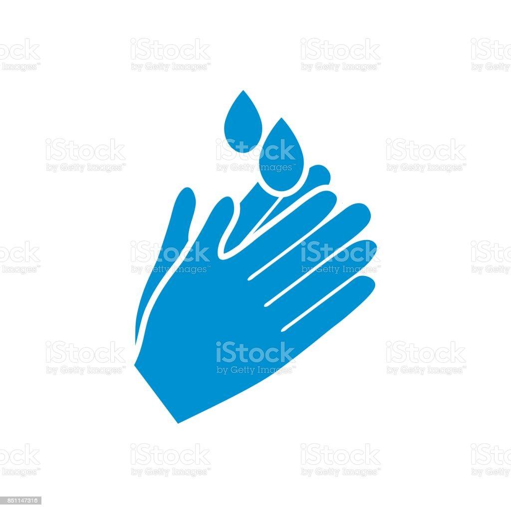 Hand Washing Badge or Icon vector art illustration