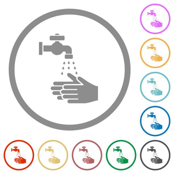 bildbanksillustrationer, clip art samt tecknat material och ikoner med hand tvätt platta ikoner med konturer - washing hands