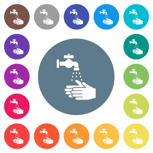 Handwäsche flache weiße Symbole auf runden Farbhintergründen – Vektorgrafik