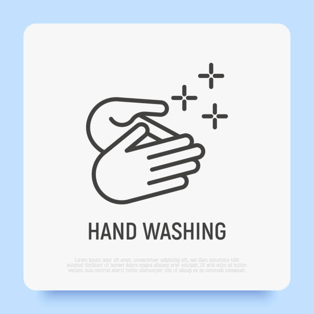 bildbanksillustrationer, clip art samt tecknat material och ikoner med handtvätt, hälsosam vana för hygienförebyggande. tunn linjeikon. vektorillustration. - washing hands