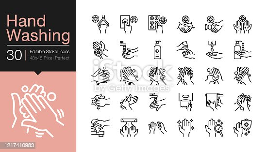 Hand washing icons. Hygiene care, antibacterial, protect from coronavirus (covid-19). Modern line design. For presentation, graphic design, mobile application or UI. Editable Stroke. Vector illustration.
