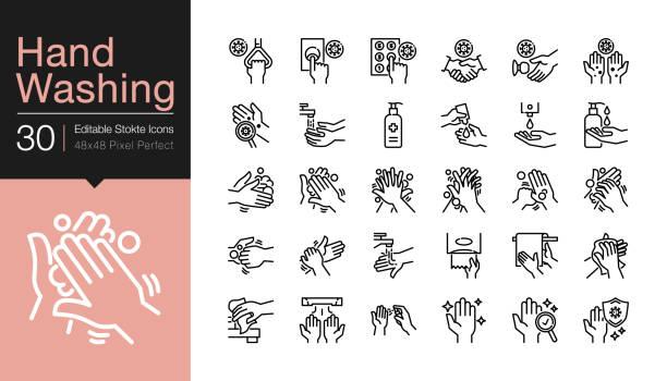 ilustrações, clipart, desenhos animados e ícones de ícones de lavagem de mãos. cuidados de higiene, antibacteriano, proteção contra coronavírus (covid-19). design de linha moderno. - washing hands