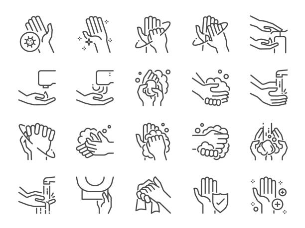 illustrazioni stock, clip art, cartoni animati e icone di tendenza di hand washing line icon set. included icons as wash, tissue paper, cleaning, hand dryer, soap, wipe, sanitary and more. - carta igienica