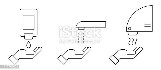How to wash hands safely instructions. Soap, scrub, rinse and dry. Vector illustration, flat style, clip art