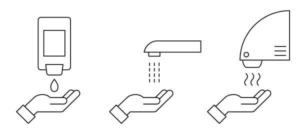 ilustraciones, imágenes clip art, dibujos animados e iconos de stock de icono de línea delgada del procedimiento de lavado de manos. equipo de baño sin contacto automatizado con sensores. - hand sanitizer