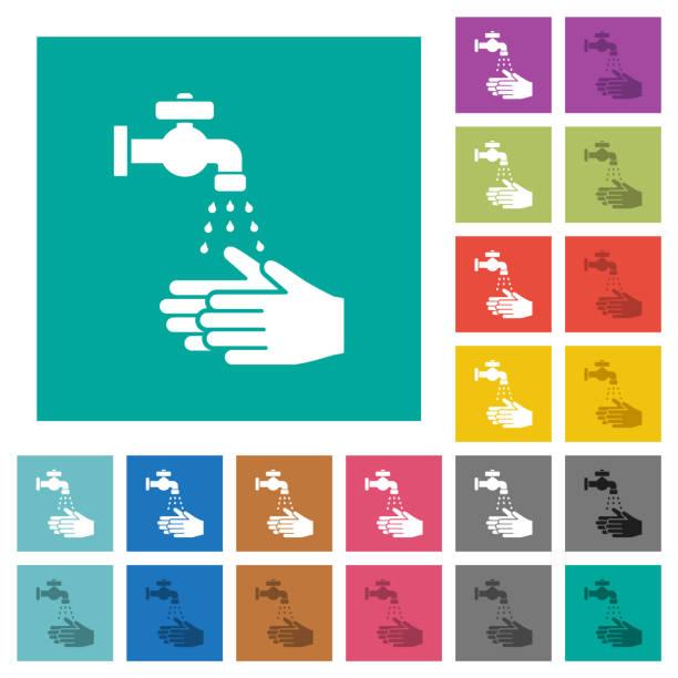 Handwäsche Quadrat flach mehrfarbige Symbole – Vektorgrafik