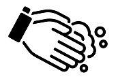 Hand washing vector icon illustration (Corona virus, flu , influenza prevetion )