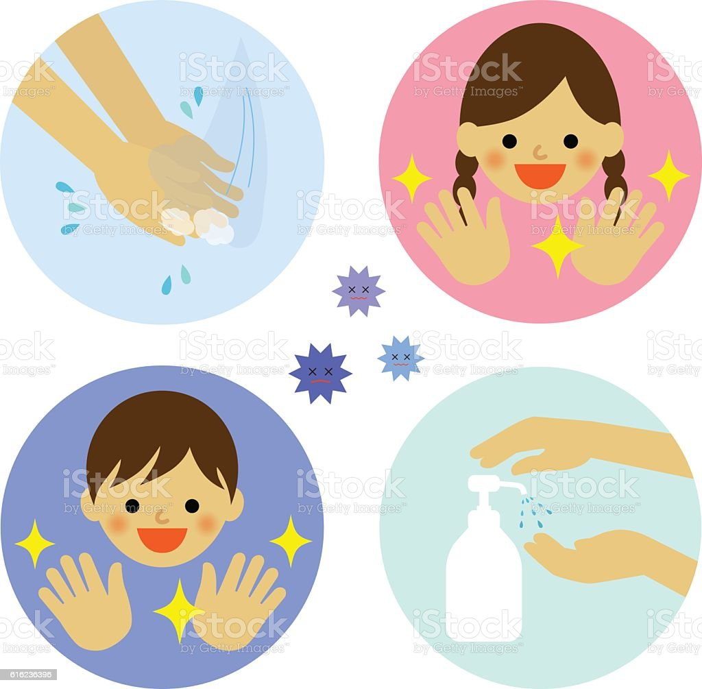 hand washing with water and alcohol for kids お手洗いのベクター
