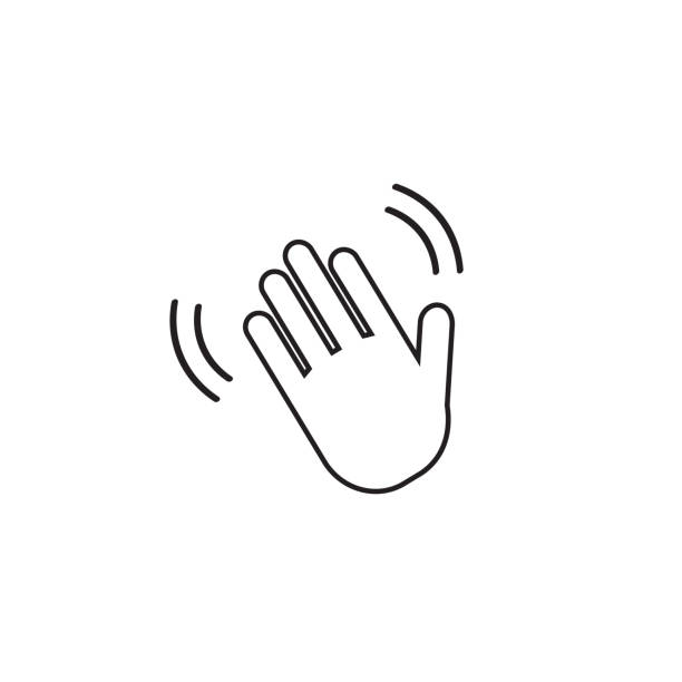Hand wave  waving hi or hello gesture line art vector icon for apps and websites Hand wave  waving hi or hello gesture line art vector icon for apps and websites hailing a ride stock illustrations