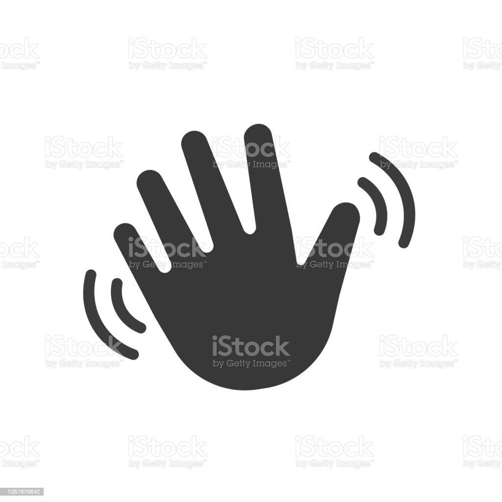 Ola mano saludando Hola o hello. Icono de vector ilustración de ola mano saludando hola o hello icono de vector y más vectores libres de derechos de aplicación para móviles libre de derechos