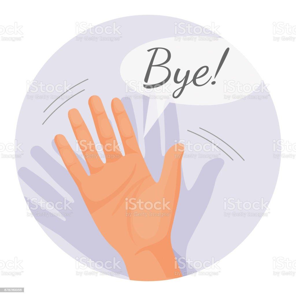 Ilustración de vector de adiós de agitar de la mano en círculo redondo aislado - ilustración de arte vectorial