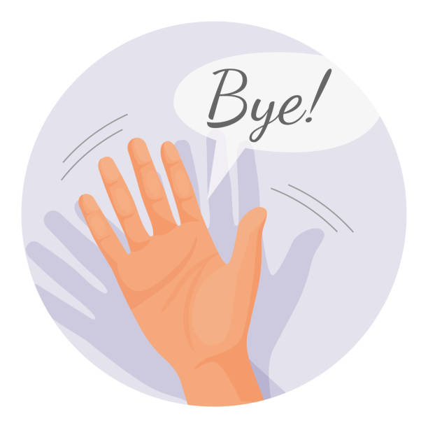 hand waving goodbye vector illustration in round circle isolated - good bye stock illustrations, clip art, cartoons, & icons