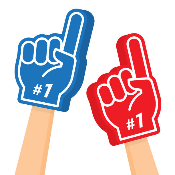Hand wearing foam finger. Number one and the best. Hand wearing foam finger. Blue and red sports item for hand to show a support for a team on championship game. Vector illustration isolated on white background number 1 stock illustrations