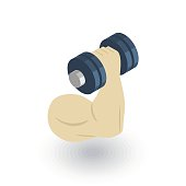 hand whith dumbbell, biceps muscles, sport power isometric flat icon. 3d vector