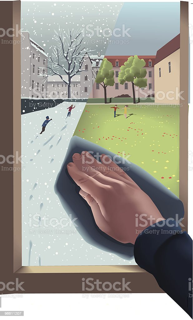 Hand Wiping Window From Winter to Spring vector art illustration