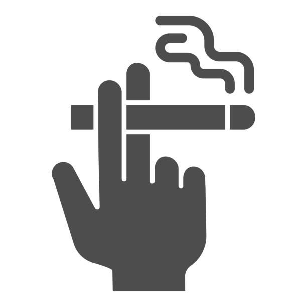 Hand with a cigarette solid icon, Smoking concept, Hand holding cigarette sign on white background, Smoker hand icon in glyph style for mobile concept and web design. Vector graphics. Hand with a cigarette solid icon, Smoking concept, Hand holding cigarette sign on white background, Smoker hand icon in glyph style for mobile concept and web design. Vector graphics human finger stock illustrations