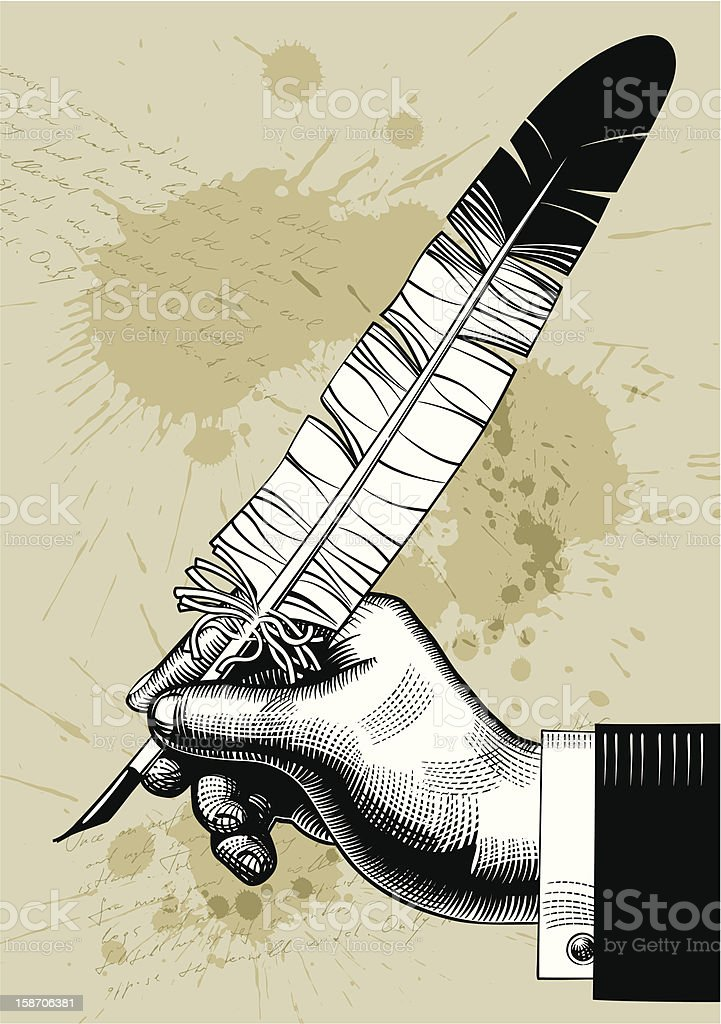 Hand with a feather royalty-free stock vector art
