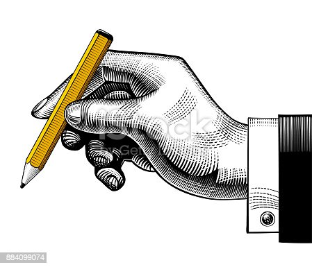 Hand with a pencil. Vintage engraving stylized drawing. Vector illustration