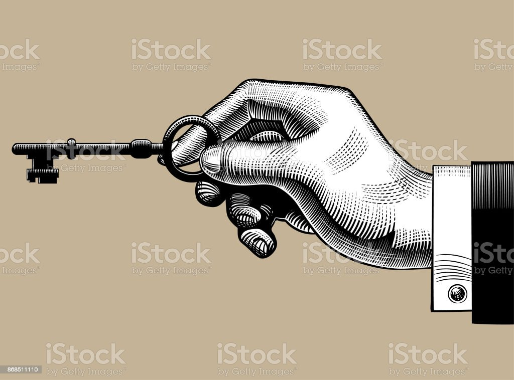 Hand with a Postal envelope vector art illustration