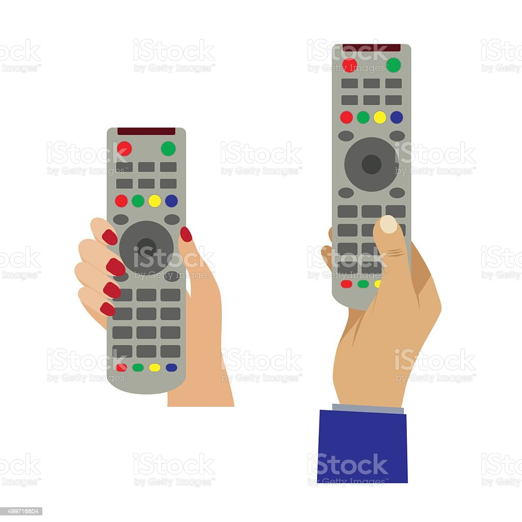 Hand with a remote control. vector art illustration