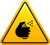 Hand with a Spray Can Icon. This 100% royalty free vector illustration is featuring a yellow triangle button with rounded corners. The surface of the button is shiny and has a light effect on top. The main icon is depicted in black. There also a thin black outline around the edges of the triangle.
