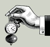 Hand with an old clock. Retro pocket watch. Vintage engraving stylized drawing. Zip-file includes: AI (v.8), JPEG (5000x5000). Vector illustration.