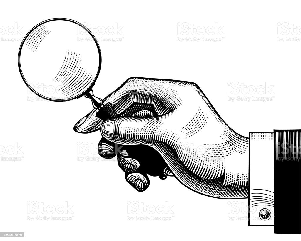 Hand with an old magnifying glass vector art illustration