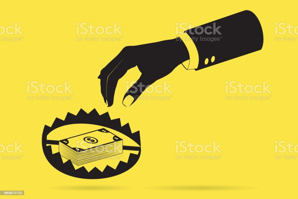 hand with banknote and trap, business trap concept vector art illustration