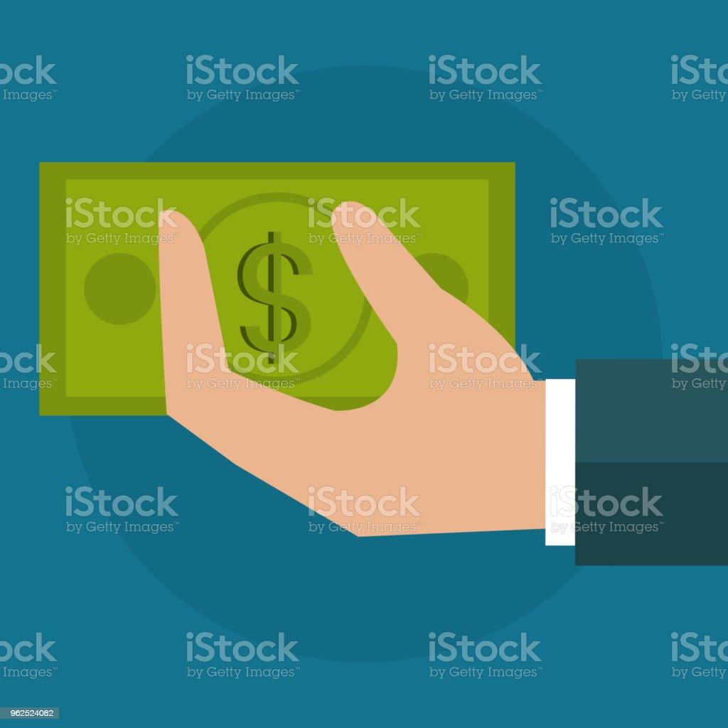 mão com o ícone de dinheiro dólar contas - Vetor de Abundância royalty-free